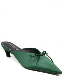 Pointed Toe Bow Satin Slippers - Green 39