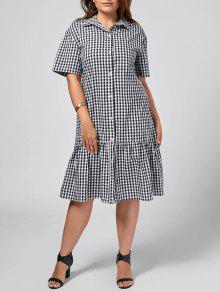 Plus Size Checked Ruffles Shirt Dress - Checked 3xl