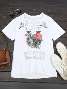 Floral Print Lace Up Tee - White L