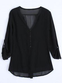V Neck Button Embellished Blouse - Black 2xl