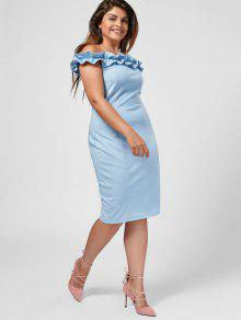 29% OFF] 2019 Ruffles Plus Size Off Shoulder Dress In LIGHT BLUE   ZAFUL