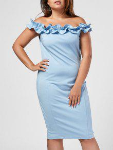 Ruffles Plus Size Off Shoulder Dress - Light Blue 4xl