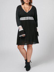 Flare Sleeve Plus Size Crochet Panel Dress - Black 5xl