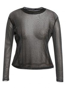 Long Sleeve Plus Size Gilding T-shirt - Black 4xl