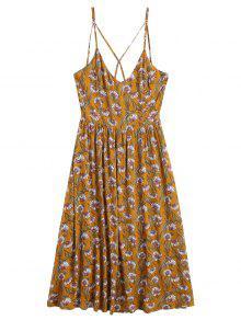 فستان طباعة عباد الشمس بلا أكمام ميدي  - الأصفر M