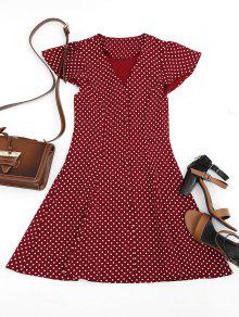 Botón Hasta El Vestido Mini De Lunares - Vino Rojo L