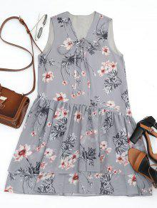 Floral Layered Lace Up Mini Dress - Gray L