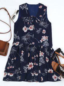 Floral Con Capas De Encaje Mini Vestido - Azul Purpúreo L