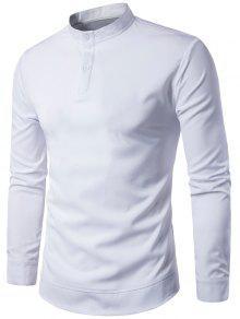 الوقوف طوق كم طويل البلوز قميص - أبيض M