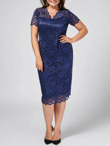 Plus Size Scalloped Sheer Lace Dress - Purplish Blue 2xl