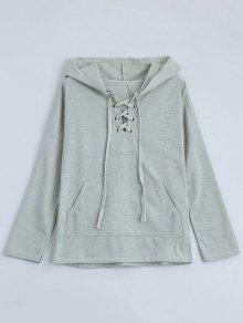 Drop Shoulder Lace Up Hoodie - Light Gray S