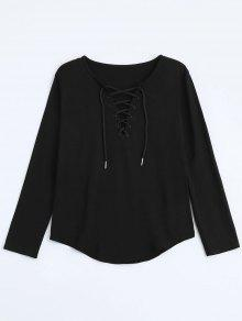 Lace Up Long Sleeve Plunge Tee - Black M