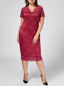 Plus Size Scalloped Lace Bodycon Dress - Rose Red 3xl