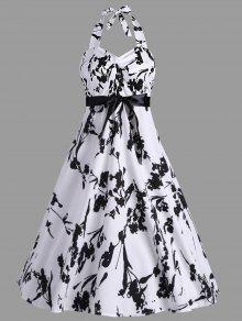 طباعة خط فستان الرسن خمر - أبيض L