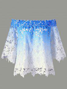 قبالة الكتف الدانتيل الزهور بلوزة أومبير - أزرق M
