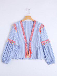 Bow Tie Tassels Stripes Blouse - Stripe M