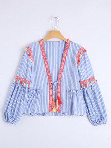 Bow Tie Tassels Stripes Blouse - Stripe L