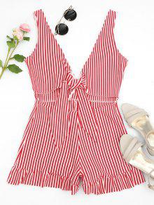 Bowknot Stripes Cut Out Romper - Stripe M