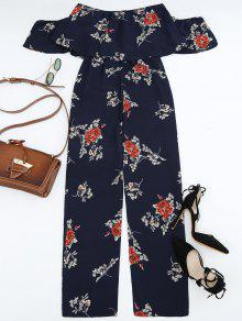 15859348122 33% OFF  2019 Off The Shoulder Floral Print Flounce Jumpsuit In ...