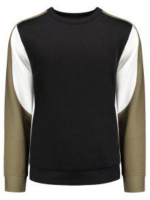 Crew Neck Color Block Panel Sweatshirt - Black Xl