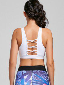 Scoop Padded Strappy Active Bra - White M