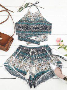 Tribal Imprimir Halter Top Y Shorts Set - Multi M