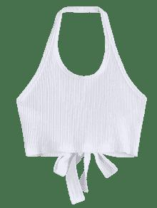 Criss Halter Blanco Crop Ribbed S Top Cross a61q06f