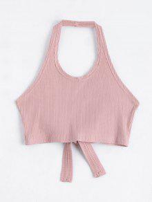 Halter Criss Cross Ribbed Crop Top - Pink S