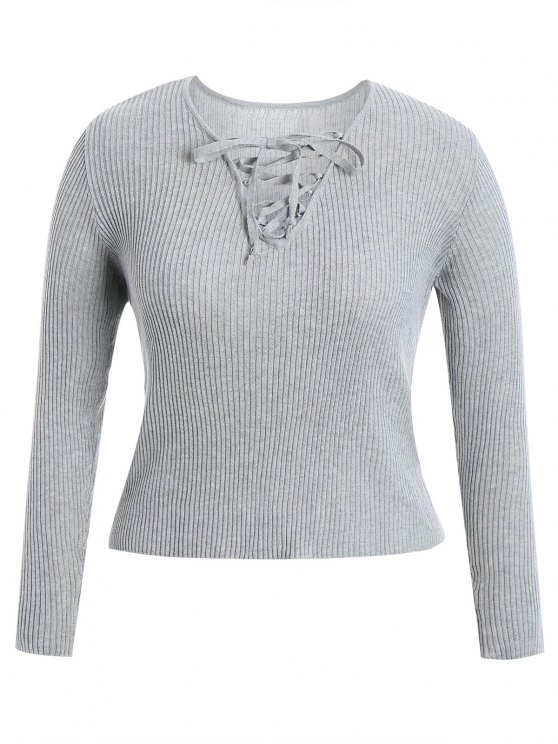 women Ribbed Lace Up Plus Size Knitwear - GRAY XL