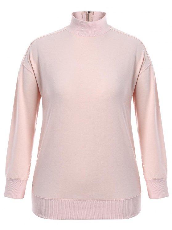 Zipper High Collar Plus Size Sweatshirt - Rosa XL
