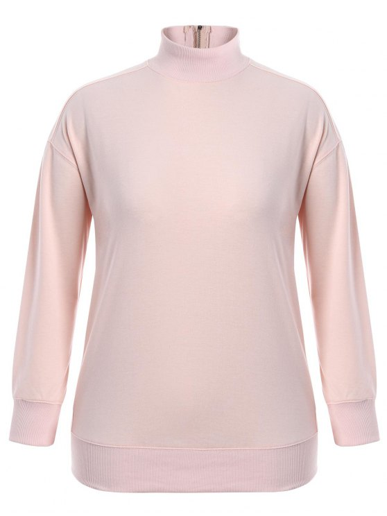 shops Zipper High Collar Plus Size Sweatshirt - PINK 4XL