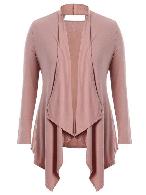 trendy Cut Out Plus Size Shawl Collar Cardigan - PINK 2XL