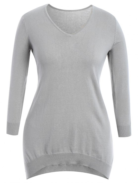 affordable High Low Plus Size Slit Knitwear Dress - GRAY XL