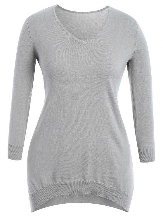 Robe en tricot à bas prix - Gris 4XL