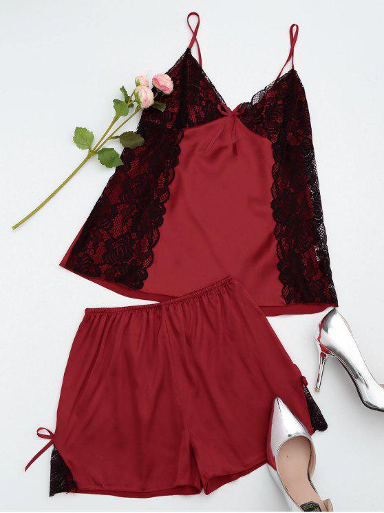 hot Lace Satin Camisole Shorts Pajama Set - BURGUNDY M