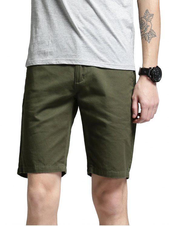 Side Pockets Zip Fly Shorts - GREEN 38