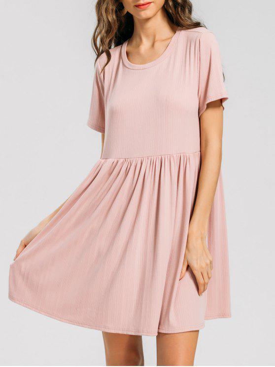 فستان محبوك كشكش مصغر - زهري XL