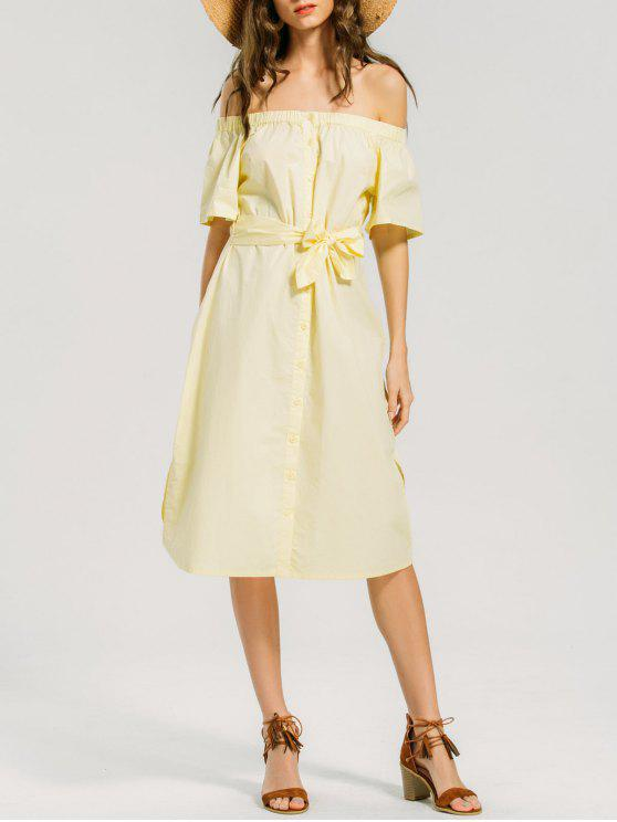 c47e9fbbeb9f 26% OFF  2019 Button Up Off Shoulder Casual Dress In LIGHT YELLOW ...