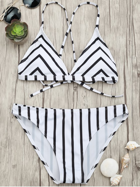 latest Chevron Stripe Padded Strappy Bikini Set - WHITE AND BLACK L