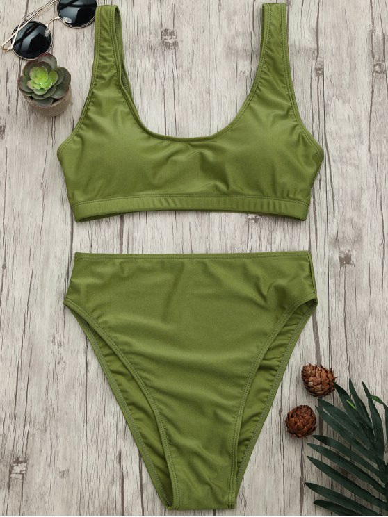 Juego de bikini Bralette cuchara de corte alto - Verde S