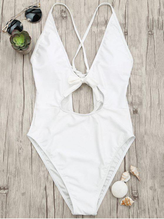 affordable Knot Plunge Cutout One Piece Swimsuit - WHITE M