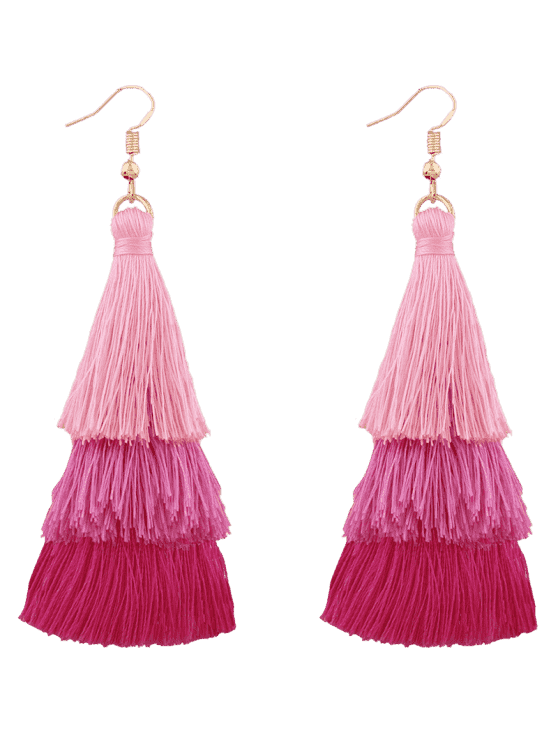 women Tassel Layered Hook Drop Earrings - PINK