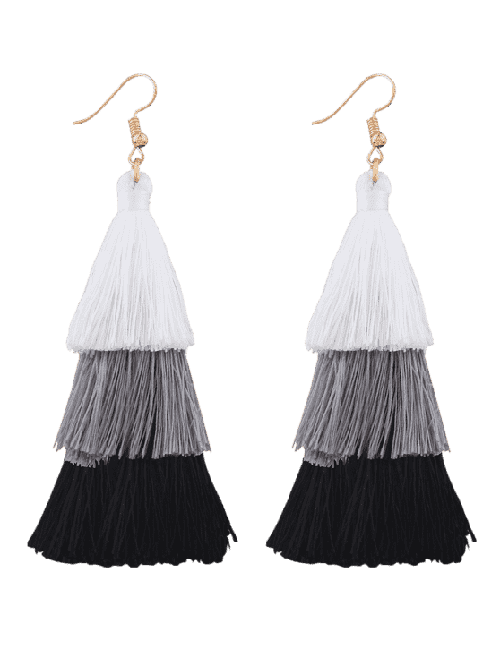 Tassel Layered Hook Drop Earrings - PRETO + BRANCO