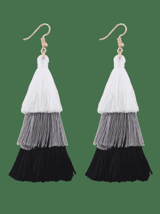 best Tassel Layered Hook Drop Earrings - BLACK + WHITE