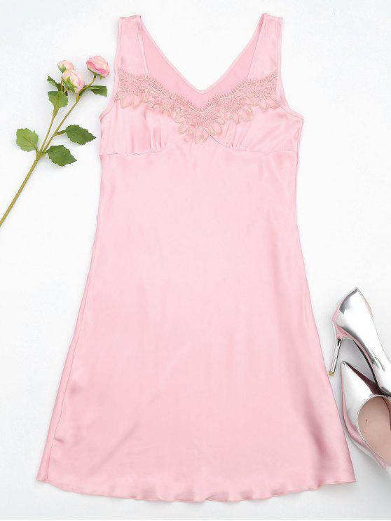 Lace Trim Satin Schlaf Tank Kleid - Pink M