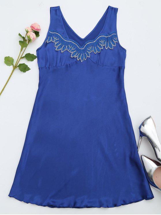 Lace Trim Satin Sleep Tank Dress - Bleu saphir M