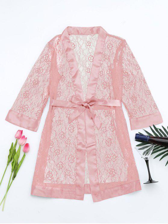 chic Grosgrain Belt Sheer Lace Sleep Robe - PINK ONE SIZE