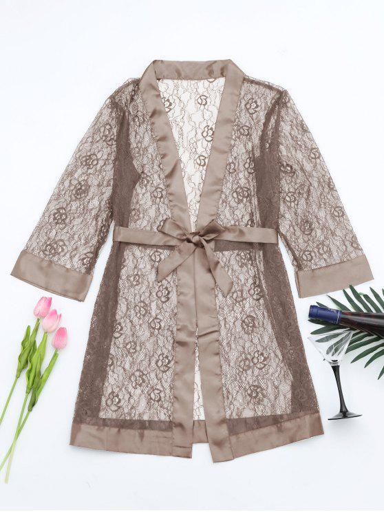 fancy Grosgrain Belt Sheer Lace Sleep Robe - LIGHT COFFEE ONE SIZE