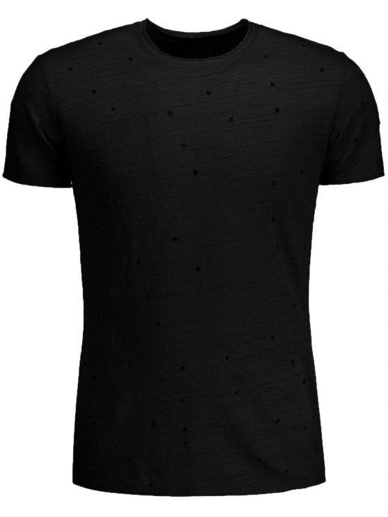 T-shirt en Coton Détresse - Noir 2XL