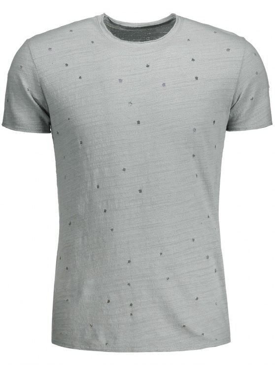 Camiseta apenada algodón para hombre del algodón - Gris XL